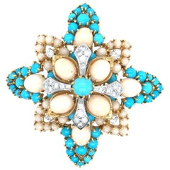 Impressive 18 Karat Persian Turquoise and Angel Skin Coral Brooch