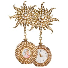 1800s Art Nouveau Gold Pearl Set Star Shaped and Enamel Pendant Watch