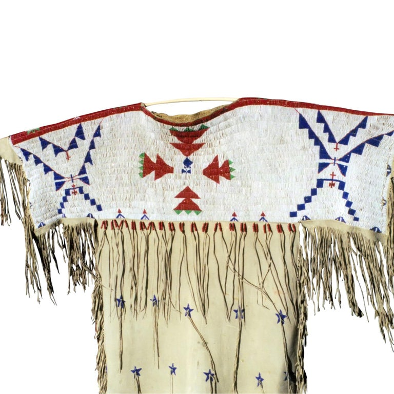 Native American Impressive 1870s Arapaho/Sioux Beaded Hide Dress For Sale
