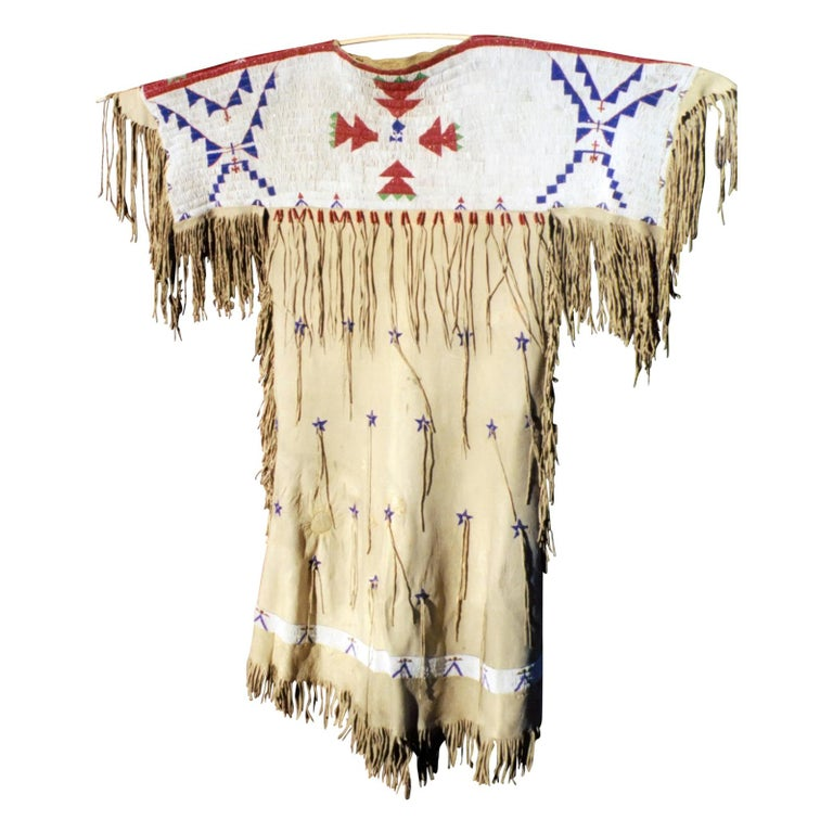 American Impressive 1870s Arapaho/Sioux Beaded Hide Dress For Sale