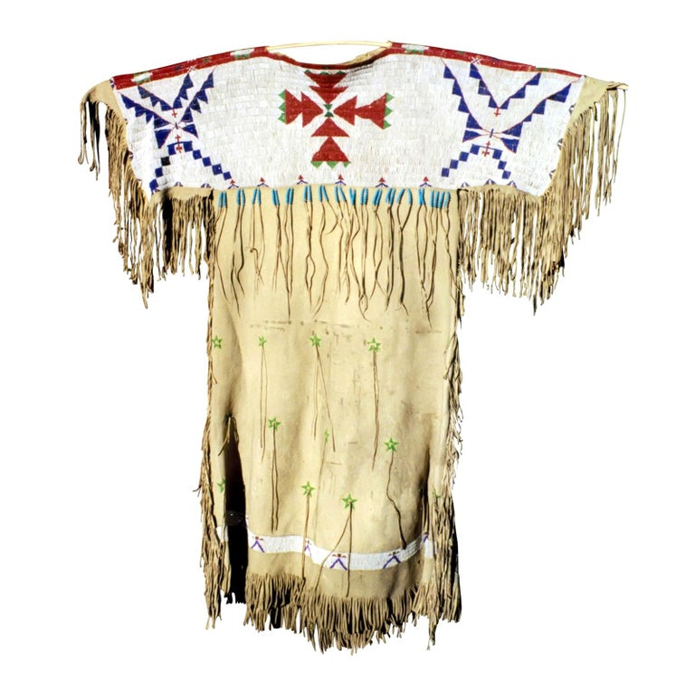 Impressive 1870s Arapaho/Sioux Beaded Hide Dress For Sale