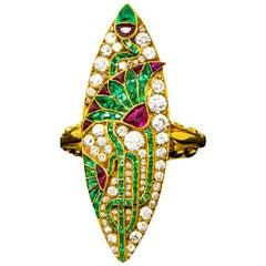 Impressive 1890s French Egyptian Revival Motif Ruby Emerald Diamond Lotus Ring