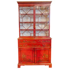 Impressive 18th Century Chinoiserie Red Lacquered Drop Front Secretary