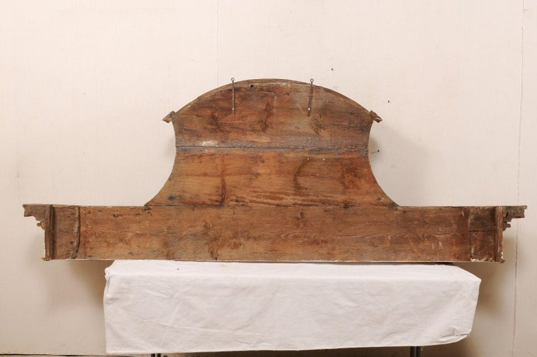 Impressive 18th Century Italian Carved, Gilded & Painted Wood Pediment Fragment For Sale 7