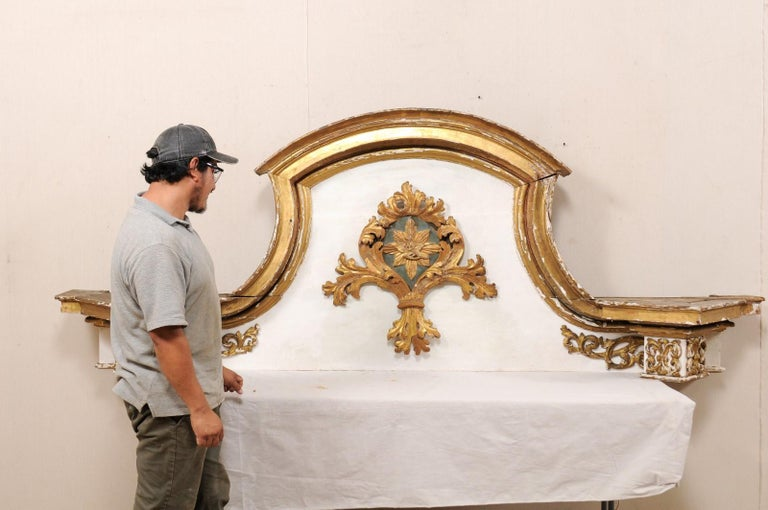18th Century and Earlier Impressive 18th Century Italian Carved, Gilded & Painted Wood Pediment Fragment For Sale