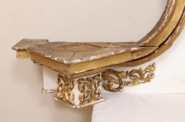 Impressive 18th Century Italian Carved, Gilded & Painted Wood Pediment Fragment For Sale 4