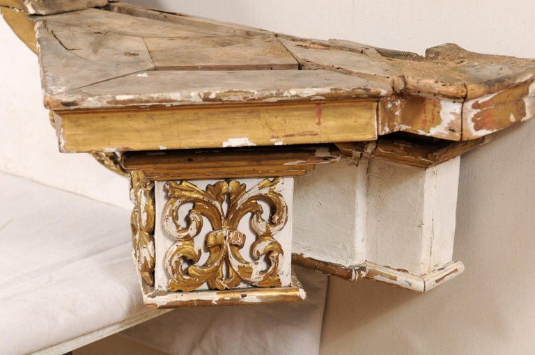 Impressive 18th Century Italian Carved, Gilded & Painted Wood Pediment Fragment For Sale 5