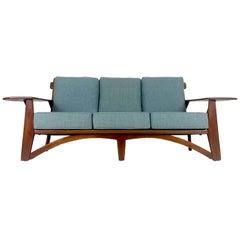 Impressive 1930s Cushman Maple Paddle Arm Sofa Designed by William DeVries