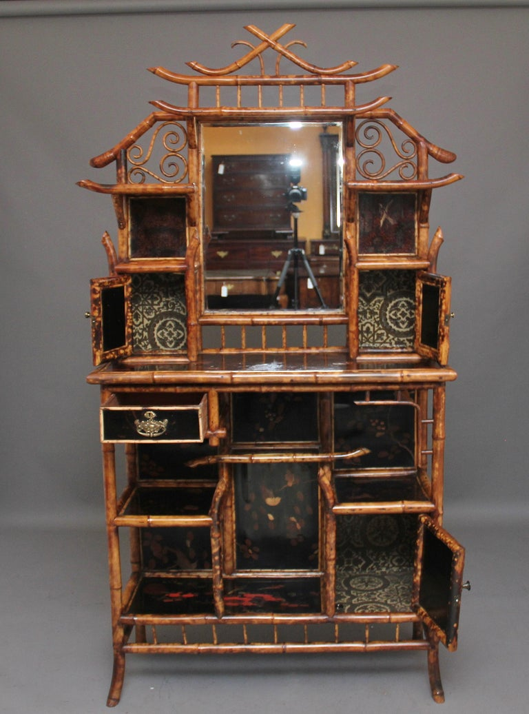 Impressive 19th Century Bamboo Cabinet In Good Condition For Sale In Martlesham, GB