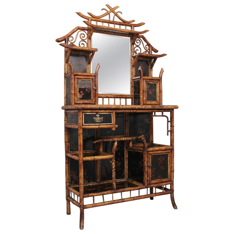 Impressive 19th Century Bamboo Cabinet For Sale