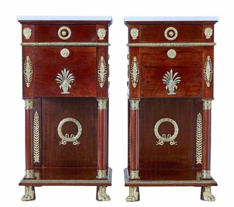 Art Nouveau Walnut 3 Piece Bedroom Suite: Impressive 19th Century French Empire Revival Five-Piece