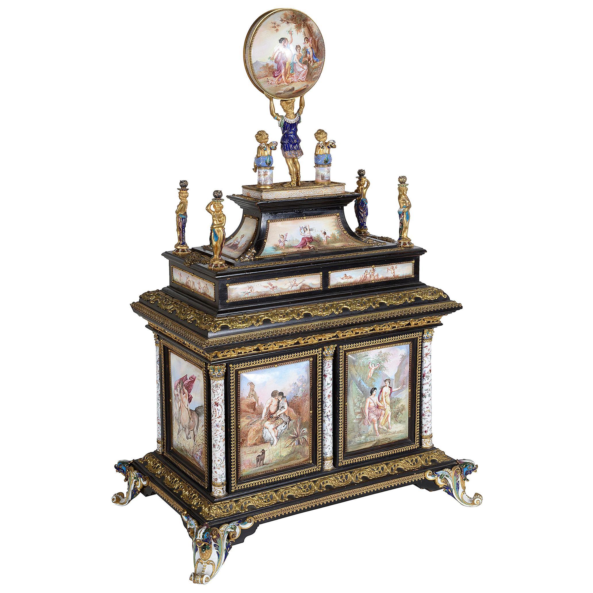 Impressive 19th Century Viennese Enamel Table Cabinet