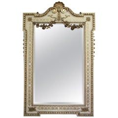 Impressive 19th Century White and Gilt Mirror in William Kent Style