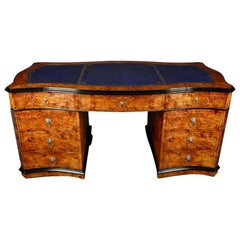 Impressive 20th Century English Style Writing Table, Beech Wood