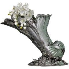 Impressive 20th Century Silver Marine Shell Cornucopia Sculpture Italy, 1930s