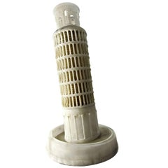 "Impressive 23"" early 20th c. alabaster Model of the Leaning Tower, Pisa"