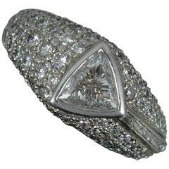Impressive 2.5 Carat Trillion Cut Diamond 18 Carat Gold Cluster Ring
