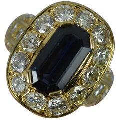 Impressive 3.00 Carat Diamond 3.75 Carat Sapphire 18 Carat Gold Cluster Ring