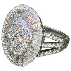 Impressive 5.5 Carat Baguette Round Diamond Oval Shape White Gold Cocktail Ring