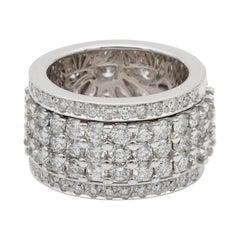 Impressive 6.50 Carat F IF/VVS Night and Day Spin Rotating Diamond Eternity Ring