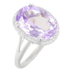 Impressive Amethyst Diamond White Gold Ring