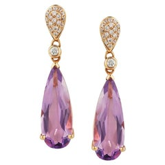 Impressive Amethyst Diamond Yellow Gold Earrings