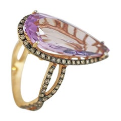 Impressive Amethyst Diamond Yellow Gold Ring