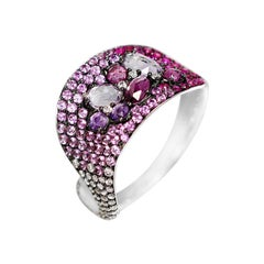 Impressive Amethyst Pink Sapphire Garnet Diamond White Gold Ring