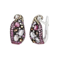Impressive Amethyst Pink Sapphire Garnet Quartz Diamond White Gold Earrings