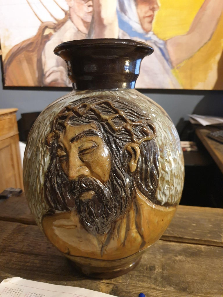 Ceramic Vase of a Suffering Christ by Losson Belgium For Sale 3