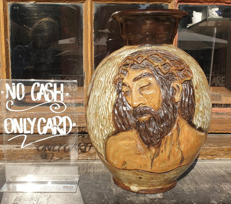 Hollywood Regency Ceramic Vase of a Suffering Christ by Losson Belgium For Sale