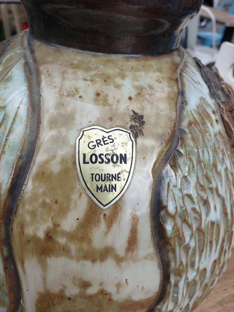 Belgian Ceramic Vase of a Suffering Christ by Losson Belgium For Sale