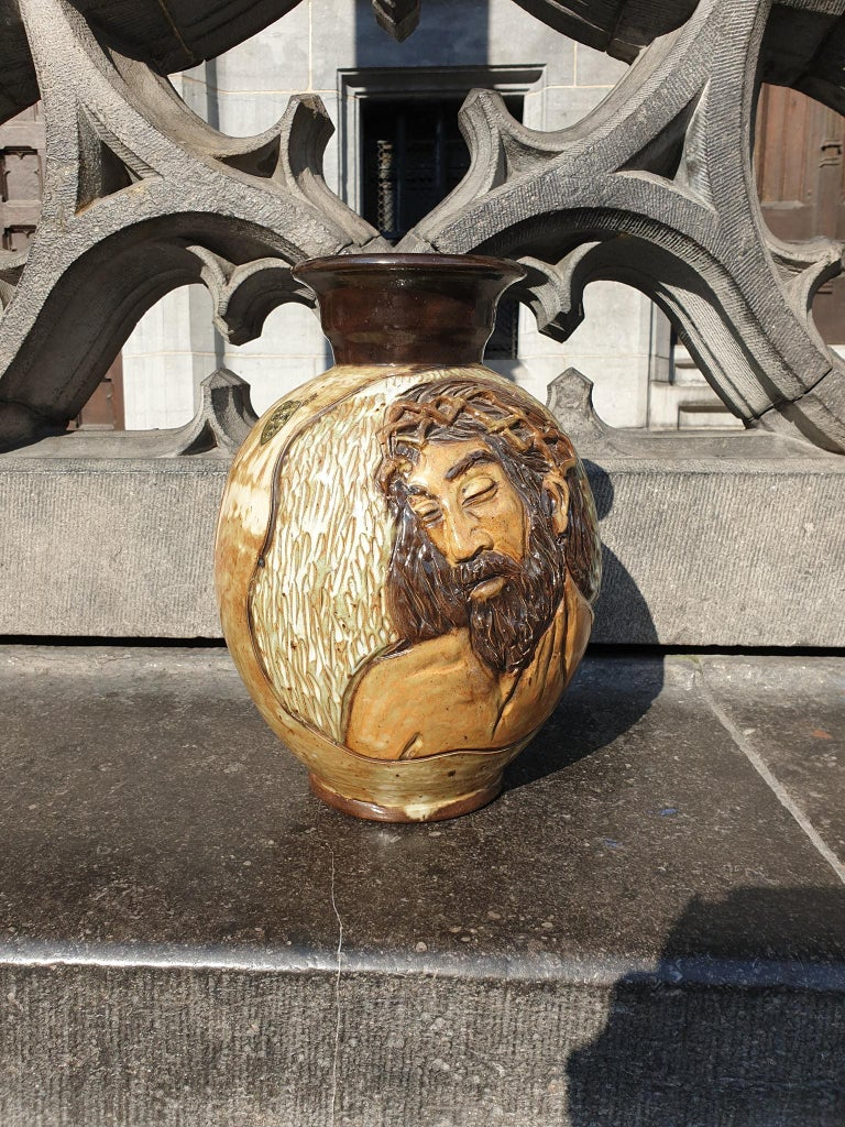Glazed Ceramic Vase of a Suffering Christ by Losson Belgium For Sale