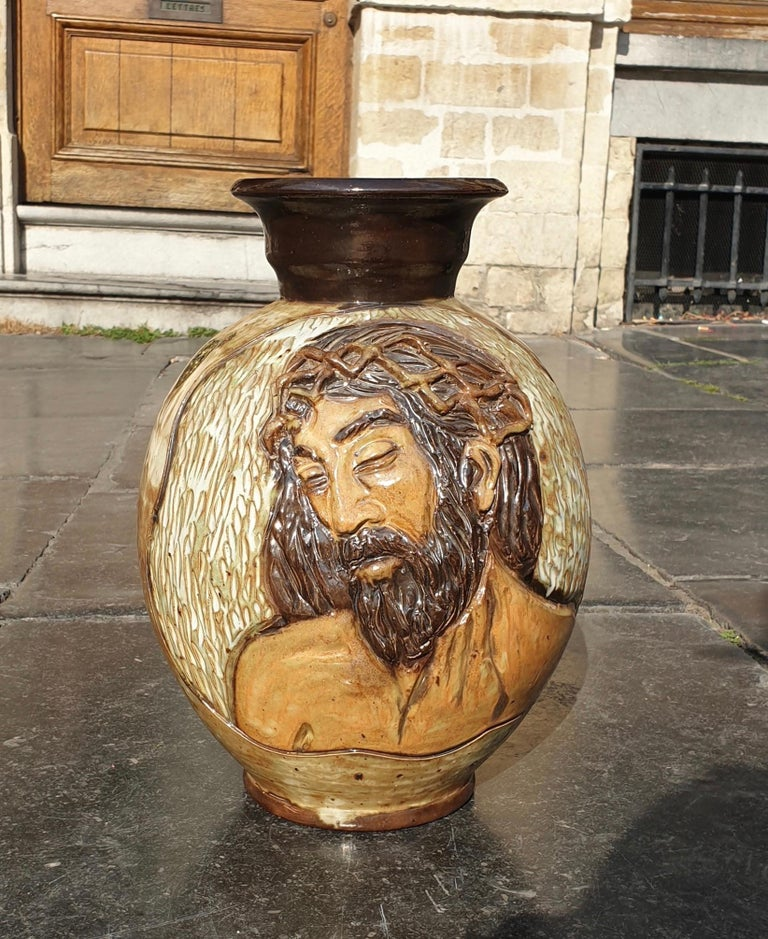 Ceramic Vase of a Suffering Christ by Losson Belgium For Sale 1