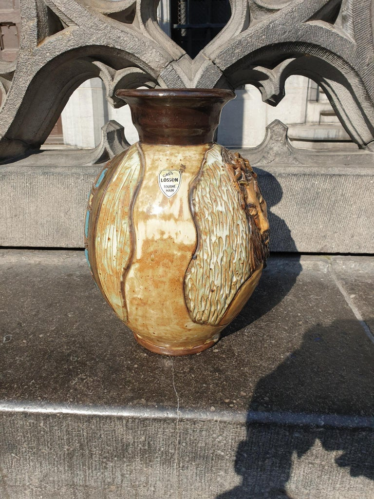 Ceramic Vase of a Suffering Christ by Losson Belgium For Sale 2