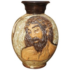 Ceramic Vase of a Suffering Christ by Losson Belgium
