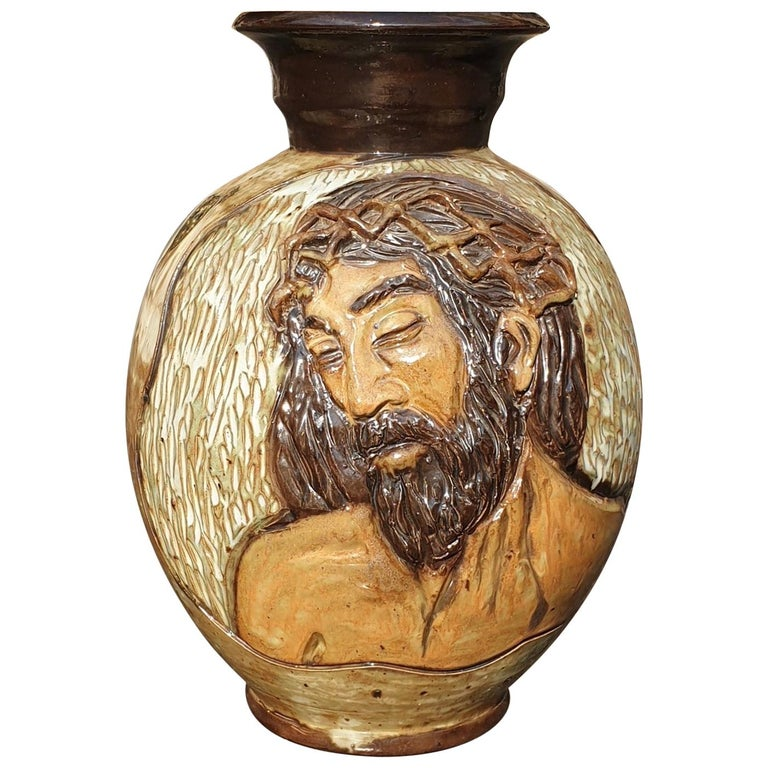 Ceramic Vase of a Suffering Christ by Losson Belgium For Sale