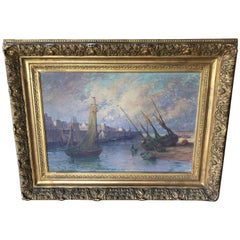 Impressive Large Original French Ship Painting by Rene Charles Louis Debraux