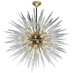 Impressive and Monumental Murano Glass Spiked Starburst Chandelier