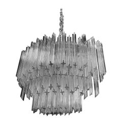 Impressive and Rare Oval Murano Crystal Glass Light Design Venini Style
