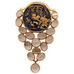 Impressive Antique Shakudo 10.00 Carat Moonstone 18 Karat Brooch Pendant