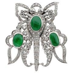 Impressive Art Deco 11.0 CT certified Jade Diamond  Butterfly Platinum Brooch