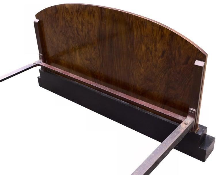 Impressive Art Deco Walnut Double Bed, circa 1930s For Sale 1