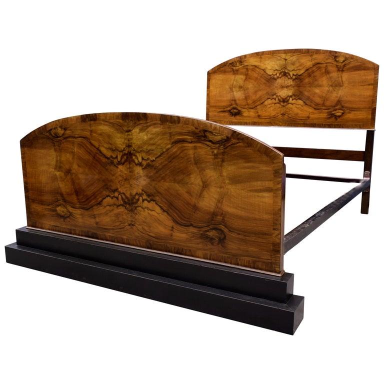 Impressive Art Deco Walnut Double Bed, circa 1930s For Sale