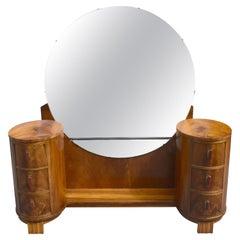 Impressive Art Deco Walnut Dressing Table, circa 1930