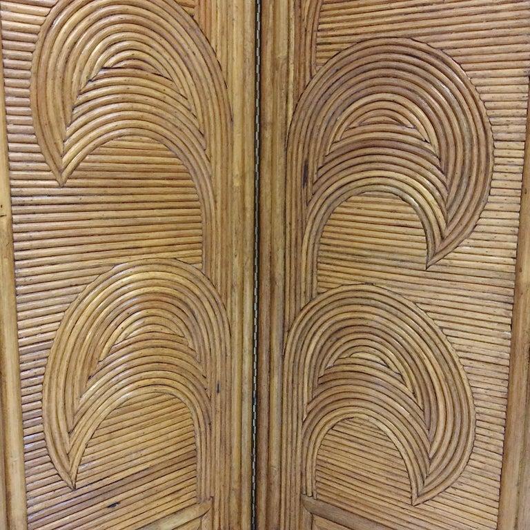 Impressive Bamboo Four-Panel Screen, circa 1970, Italy For Sale 5