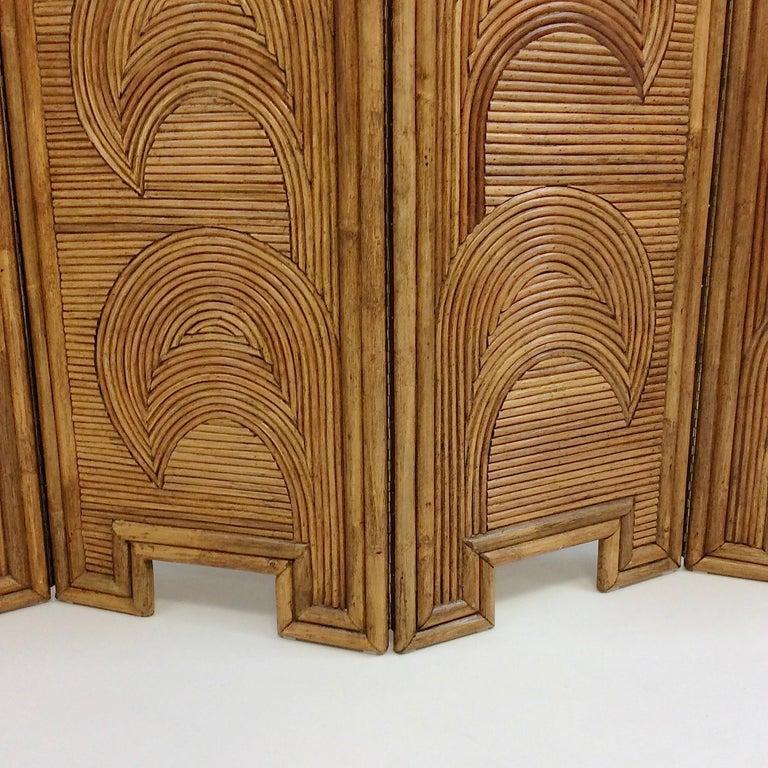 Impressive Bamboo Four-Panel Screen, circa 1970, Italy For Sale 6