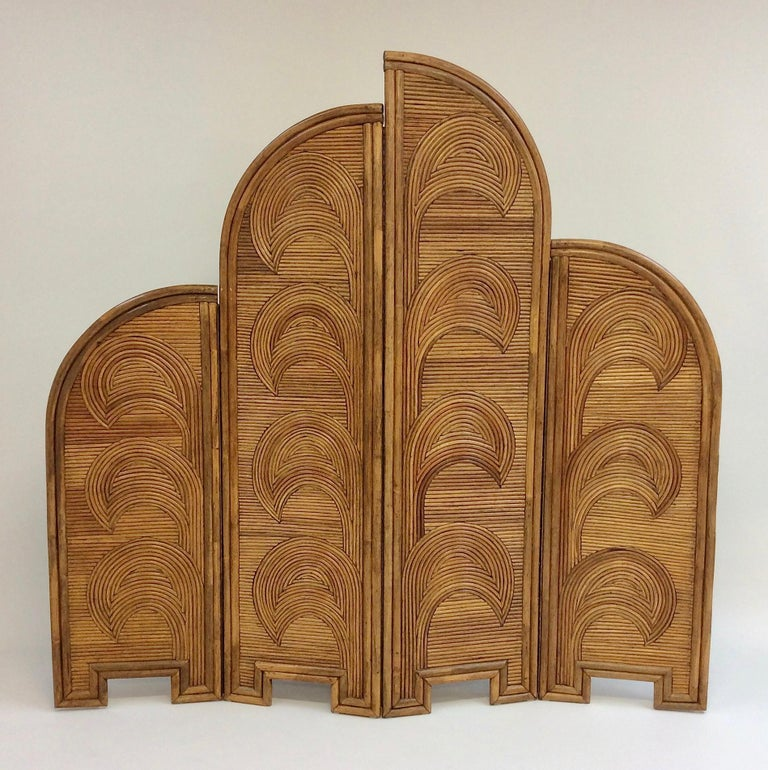 Impressive Bamboo Four-Panel Screen, circa 1970, Italy For Sale 7