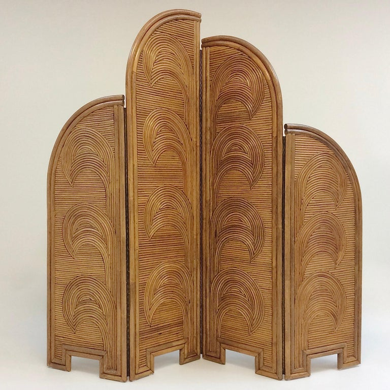 Spectacular decorative bamboo four-panel screen, Vivai del Sud, circa 1970, Italy. Dimensions: 210 cm H, 4 cm D, 220 cm W open, each panel: 55 cm wide. Rare piece in good original condition. All purchases are covered by our buyer protection