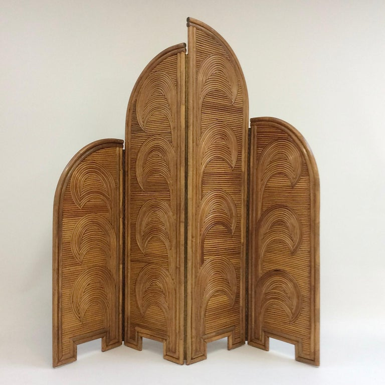 Mid-Century Modern Impressive Bamboo Four-Panel Screen, circa 1970, Italy For Sale
